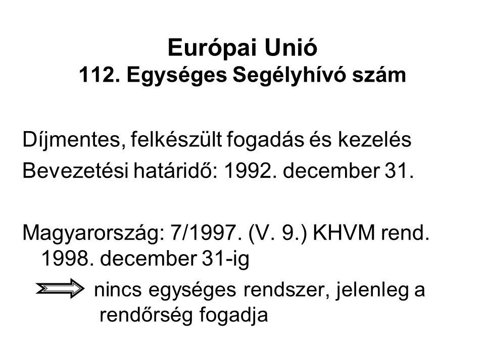 Európai Unió 112. Egységes Segélyhívó szám Díjmentes, felkészült fogadás és kezelés Bevezetési határidő: 1992. december 31. Magyarország: 7/1997. (V.