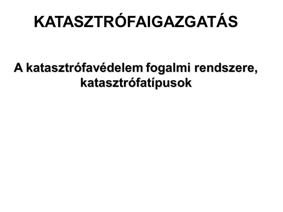 A katasztrófa fogalma Görög, jelentése: fordulat, pusztulás, megsemmisülés, csapás, megrázó, hirtelen esemény Magyar Értelmező Kéziszótár: nagyarányú szerencsétlenség, sorscsapás