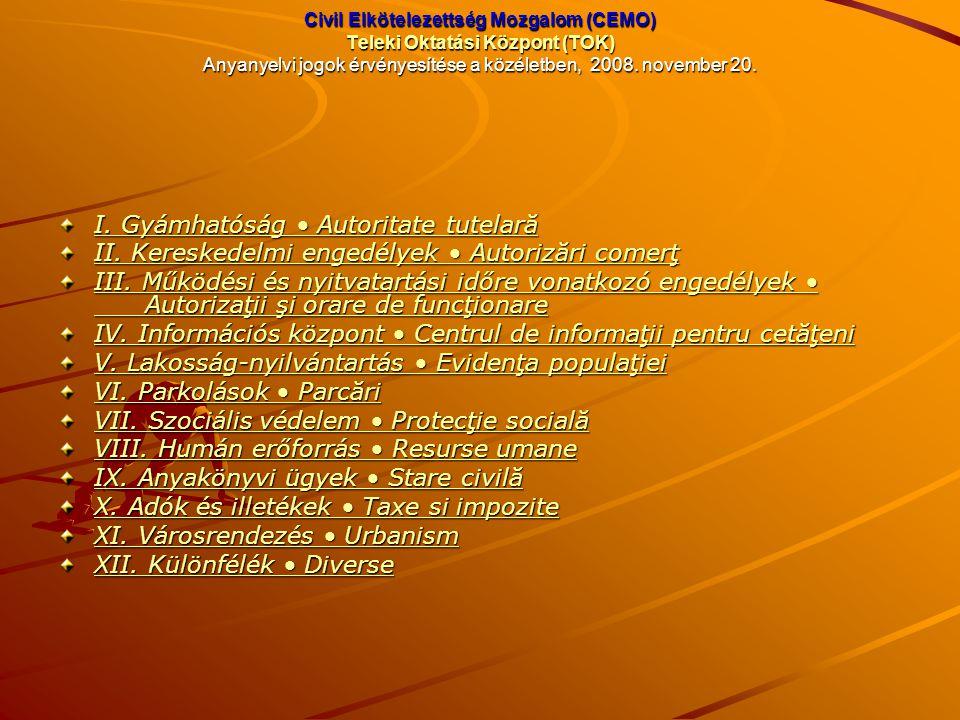 Civil Elkötelezettség Mozgalom (CEMO) Teleki Oktatási Központ (TOK) Anyanyelvi jogok érvényesítése a közéletben, 2008. november 20. I. Gyámhatóság Aut