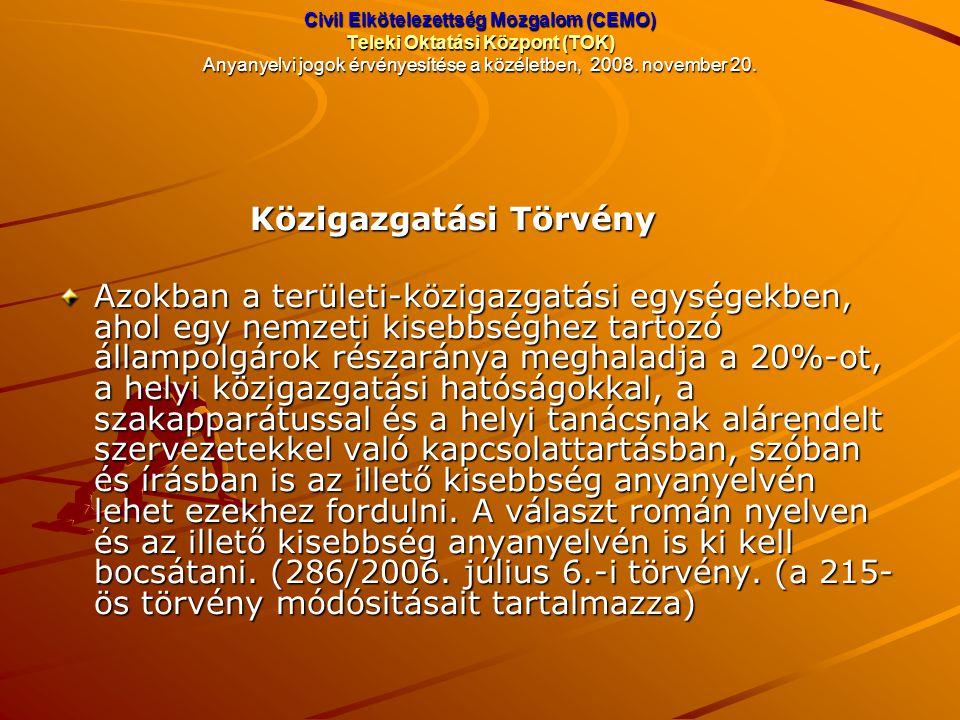 Civil Elkötelezettség Mozgalom (CEMO) Teleki Oktatási Központ (TOK) Anyanyelvi jogok érvényesítése a közéletben, 2008. november 20. Közigazgatási Törv