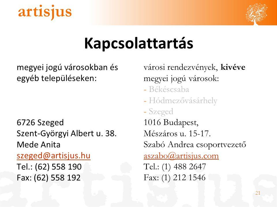 Kapcsolattartás megyei jogú városokban és egyéb településeken: 6726 Szeged Szent-Györgyi Albert u. 38. Mede Anita szeged@artisjus.hu Tel.: (62) 558 19