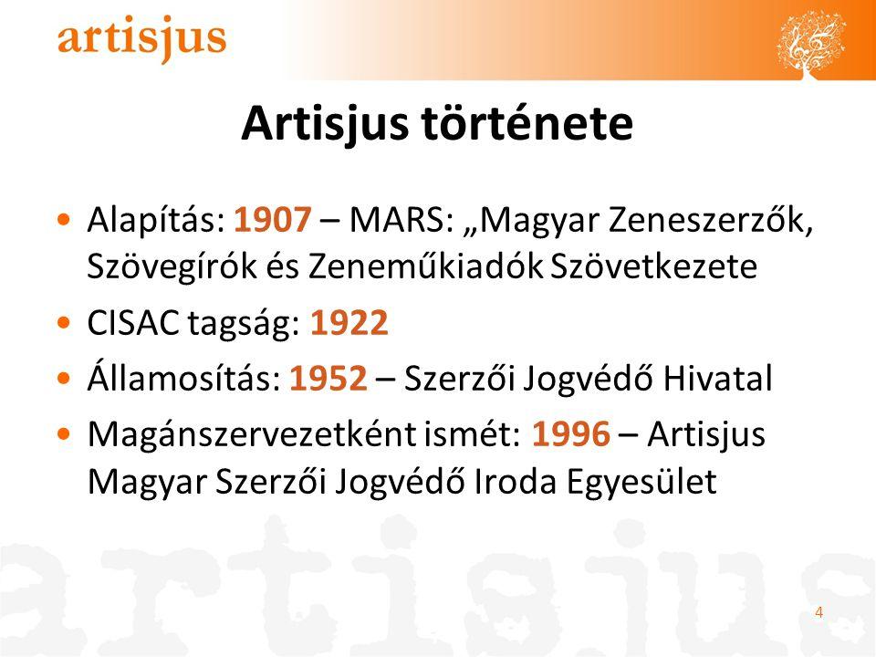 """Artisjus története Alapítás: 1907 – MARS: """"Magyar Zeneszerzők, Szövegírók és Zeneműkiadók Szövetkezete CISAC tagság: 1922 Államosítás: 1952 – Szerzői"""