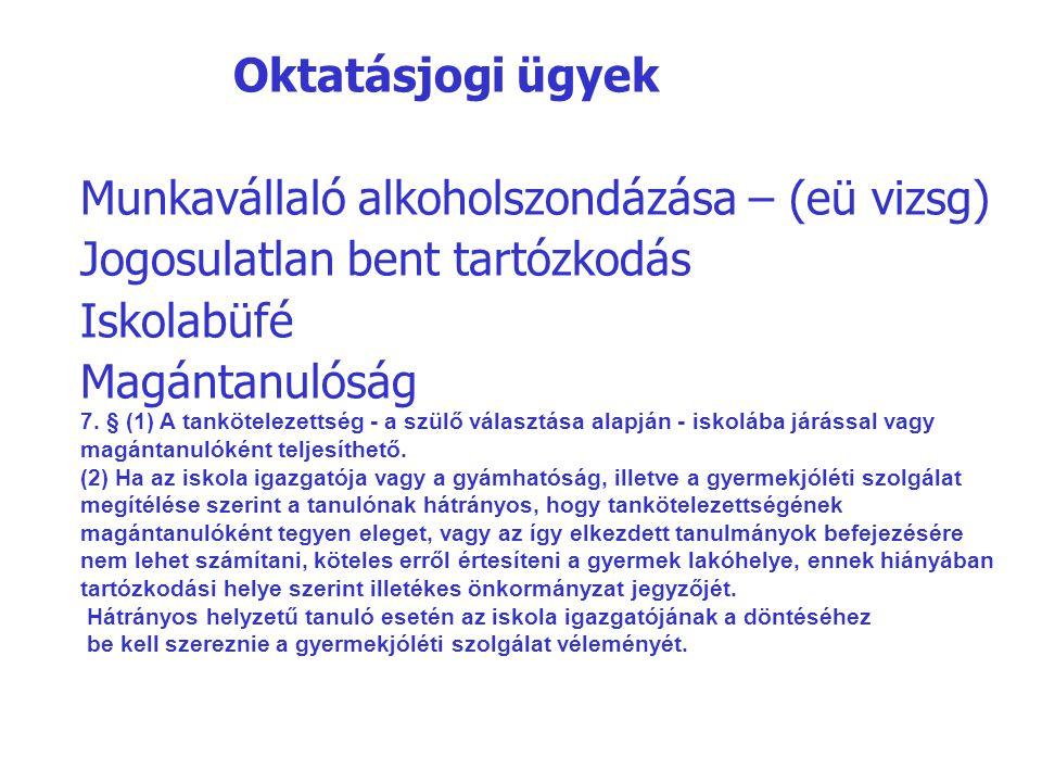 Oktatásjogi ügyek Munkavállaló alkoholszondázása – (eü vizsg) Jogosulatlan bent tartózkodás Iskolabüfé Magántanulóság 7. § (1) A tankötelezettség - a
