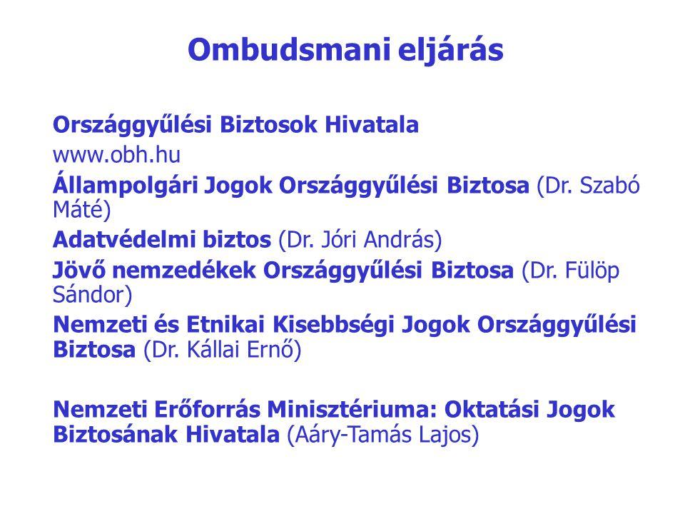 Ombudsmani eljárás Országgyűlési Biztosok Hivatala www.obh.hu Állampolgári Jogok Országgyűlési Biztosa (Dr. Szabó Máté) Adatvédelmi biztos (Dr. Jóri A
