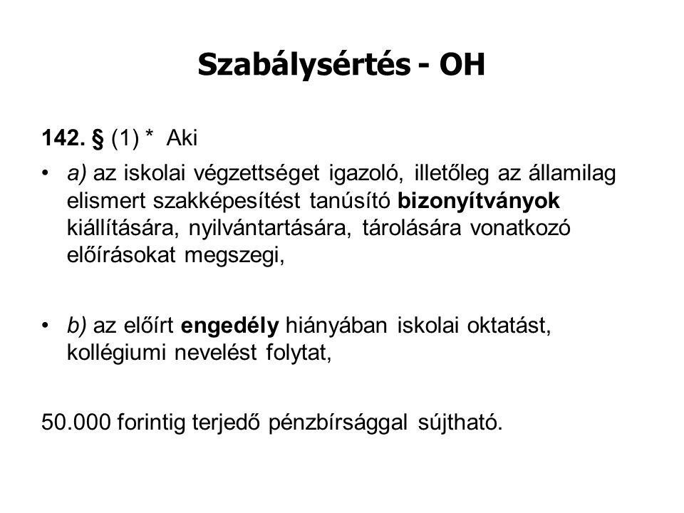 Szabálysértés - OH 142. § (1) * Aki a) az iskolai végzettséget igazoló, illetőleg az államilag elismert szakképesítést tanúsító bizonyítványok kiállít