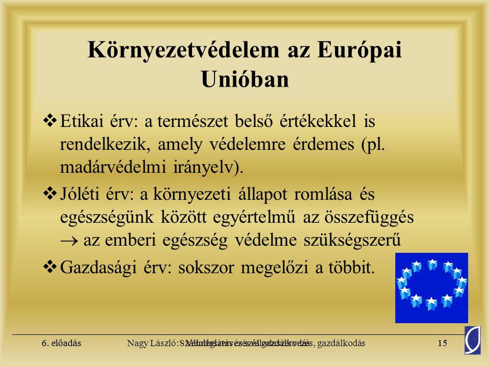 6. előadásSzállodaszervezés és gazdálkodás14Nagy László: Vendéglátás és szállodaszervezés, gazdálkodás6. előadás14 Környezetvédelem az Európai Unióban