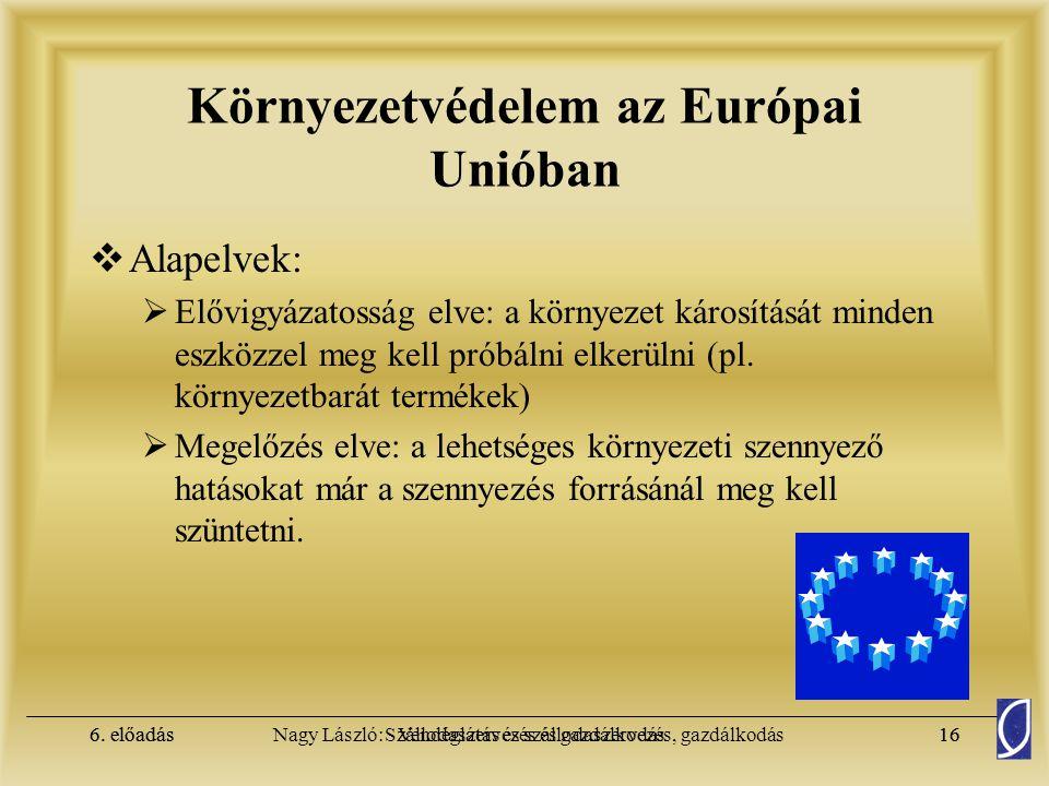 6. előadásSzállodaszervezés és gazdálkodás15Nagy László: Vendéglátás és szállodaszervezés, gazdálkodás6. előadás15 Környezetvédelem az Európai Unióban