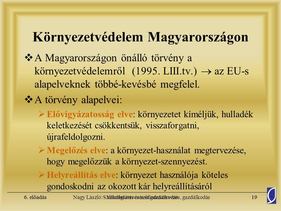 6. előadásSzállodaszervezés és gazdálkodás18Nagy László: Vendéglátás és szállodaszervezés, gazdálkodás6. előadás18 Környezetvédelem  1995. évi LIII.