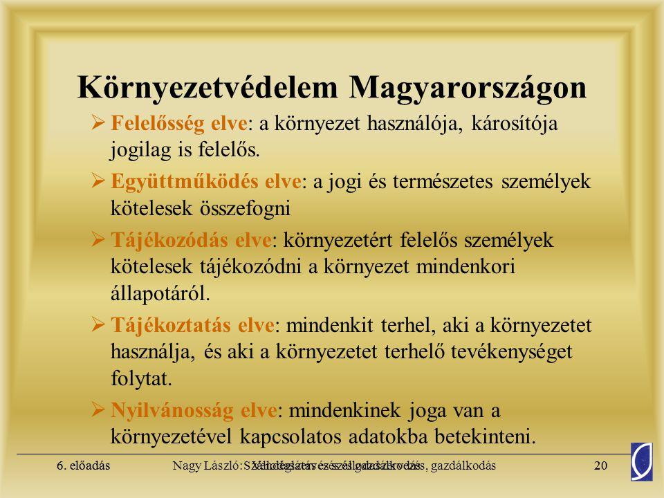 6. előadásSzállodaszervezés és gazdálkodás19Nagy László: Vendéglátás és szállodaszervezés, gazdálkodás6. előadás19 Környezetvédelem Magyarországon  A
