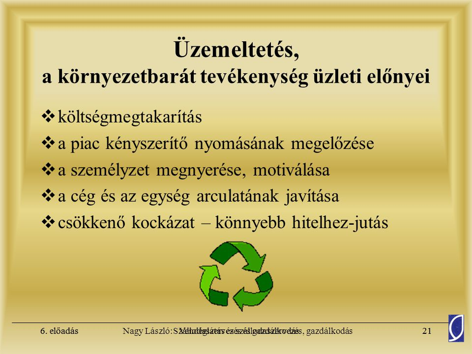 6. előadásSzállodaszervezés és gazdálkodás20Nagy László: Vendéglátás és szállodaszervezés, gazdálkodás6. előadás20 Környezetvédelem Magyarországon  F