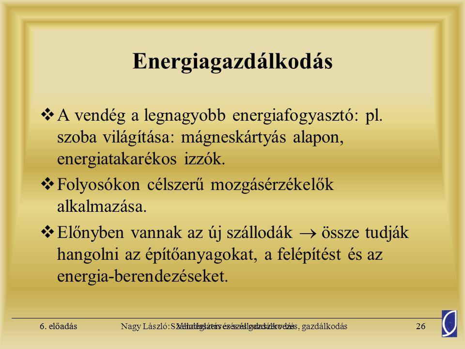 6. előadásSzállodaszervezés és gazdálkodás25Nagy László: Vendéglátás és szállodaszervezés, gazdálkodás6. előadás25 Energiagazdálkodás  Költségei foly