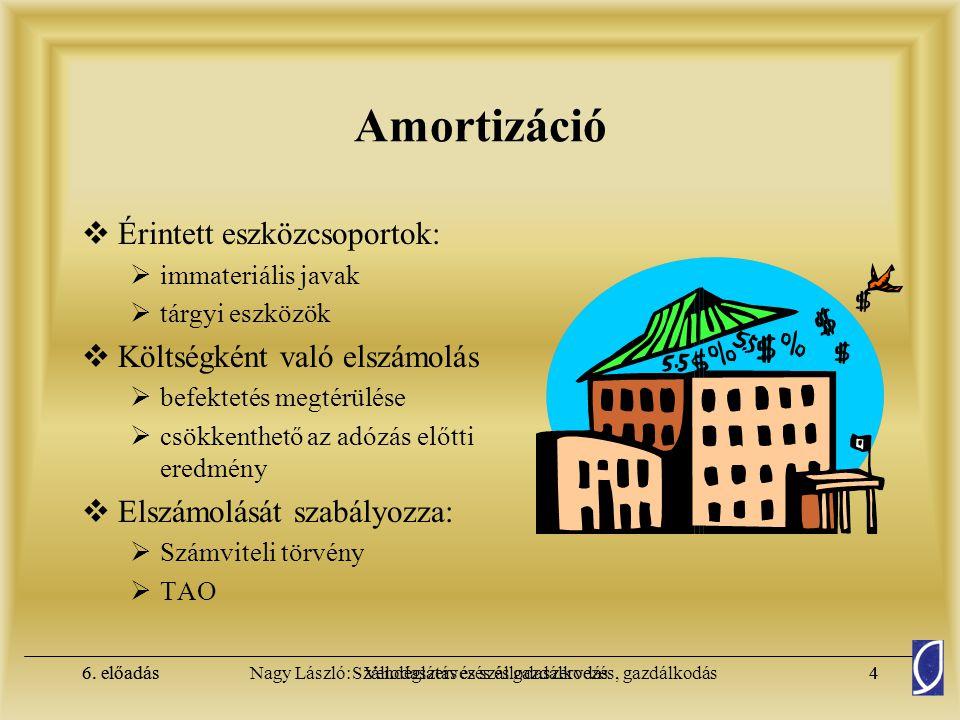 6. előadásSzállodaszervezés és gazdálkodás3Nagy László: Vendéglátás és szállodaszervezés, gazdálkodás6. előadás3 Számviteli csoportosítás – Aktívák A.