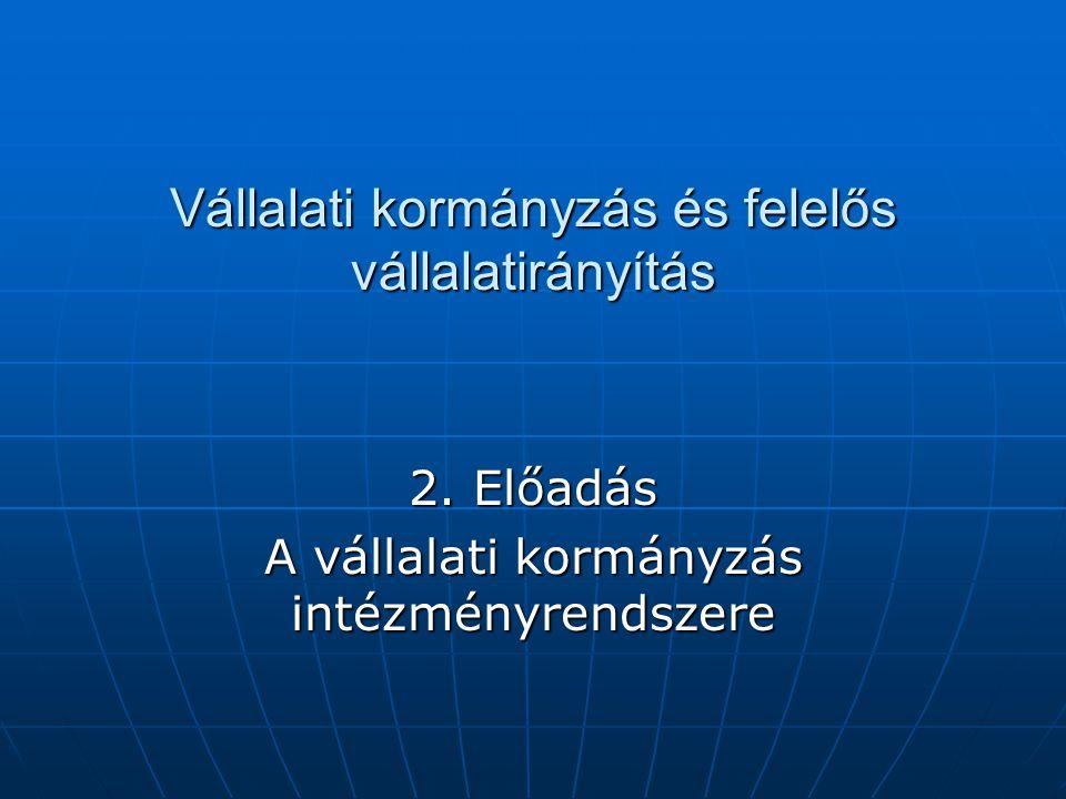 Vállalati kormányzás és felelős vállalatirányítás 2. Előadás A vállalati kormányzás intézményrendszere