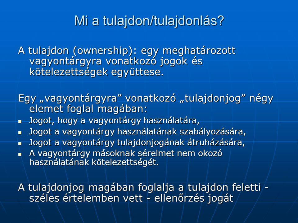 """Mi a tulajdon/tulajdonlás? A tulajdon (ownership): egy meghatározott vagyontárgyra vonatkozó jogok és kötelezettségek együttese. Egy """"vagyontárgyra"""" v"""