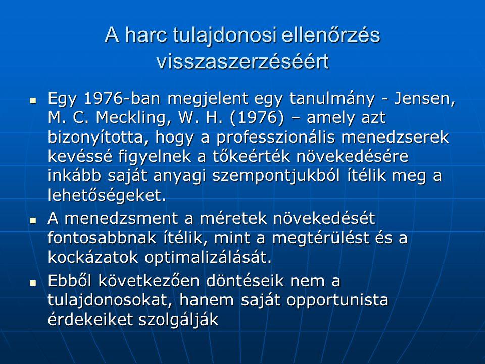 A harc tulajdonosi ellenőrzés visszaszerzéséért Egy 1976-ban megjelent egy tanulmány - Jensen, M. C. Meckling, W. H. (1976) – amely azt bizonyította,