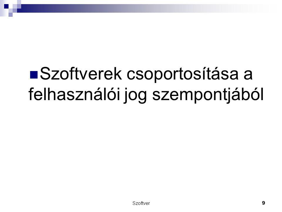Szoftverek csoportosítása a felhasználói jog szempontjából Szoftver 9