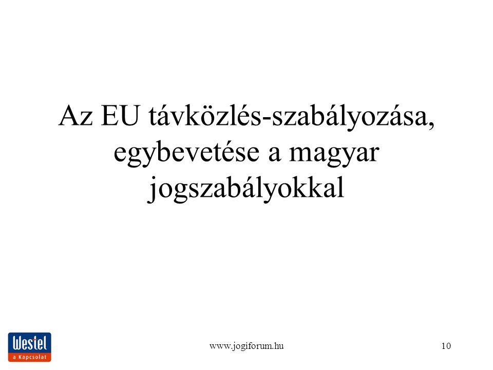 www.jogiforum.hu10 Az EU távközlés-szabályozása, egybevetése a magyar jogszabályokkal