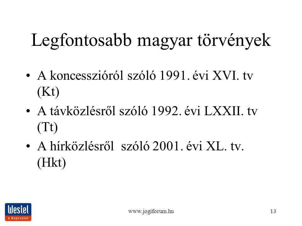 www.jogiforum.hu13 Legfontosabb magyar törvények A koncesszióról szóló 1991. évi XVI. tv (Kt) A távközlésről szóló 1992. évi LXXII. tv (Tt) A hírközlé