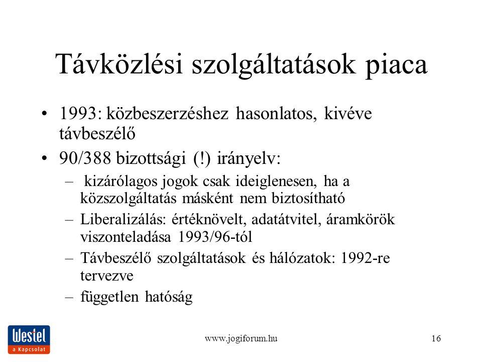 www.jogiforum.hu16 Távközlési szolgáltatások piaca 1993: közbeszerzéshez hasonlatos, kivéve távbeszélő 90/388 bizottsági (!) irányelv: – kizárólagos j