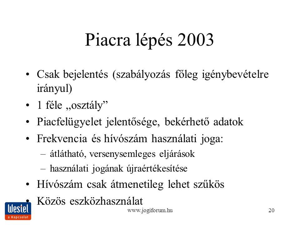 """www.jogiforum.hu20 Piacra lépés 2003 Csak bejelentés (szabályozás főleg igénybevételre irányul) 1 féle """"osztály"""" Piacfelügyelet jelentősége, bekérhető"""