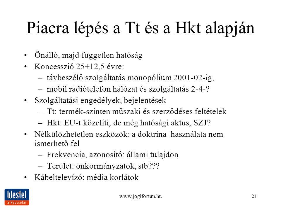 www.jogiforum.hu21 Piacra lépés a Tt és a Hkt alapján Önálló, majd független hatóság Koncesszió 25+12,5 évre: –távbeszélő szolgáltatás monopólium 2001-02-ig, –mobil rádiótelefon hálózat és szolgáltatás 2-4-.