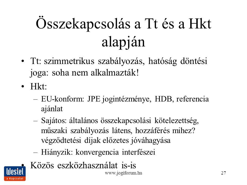 www.jogiforum.hu27 Összekapcsolás a Tt és a Hkt alapján Tt: szimmetrikus szabályozás, hatóság döntési joga: soha nem alkalmazták! Hkt: –EU-konform: JP