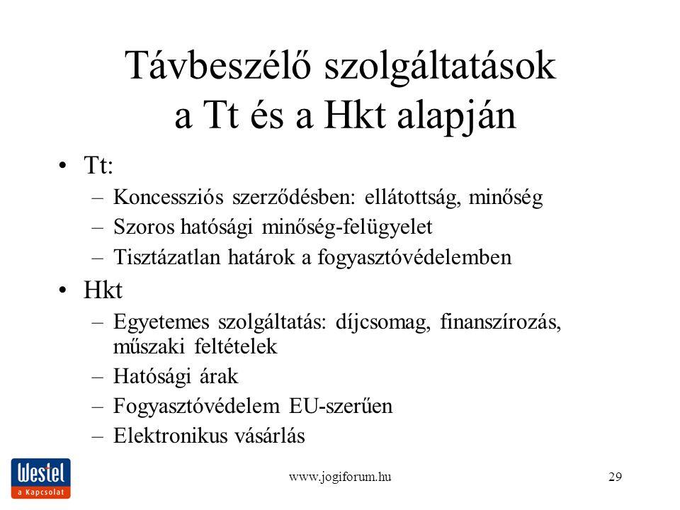 www.jogiforum.hu29 Távbeszélő szolgáltatások a Tt és a Hkt alapján Tt: –Koncessziós szerződésben: ellátottság, minőség –Szoros hatósági minőség-felügy