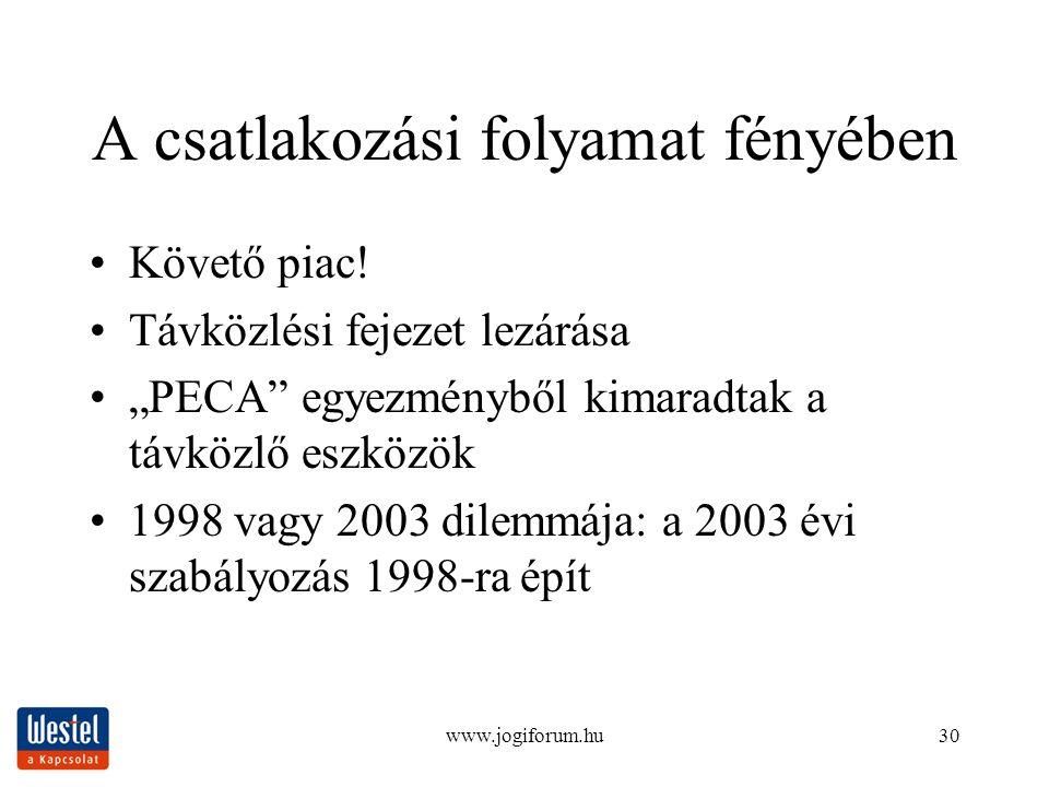 """www.jogiforum.hu30 A csatlakozási folyamat fényében Követő piac! Távközlési fejezet lezárása """"PECA"""" egyezményből kimaradtak a távközlő eszközök 1998 v"""