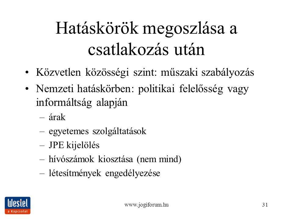 www.jogiforum.hu31 Hatáskörök megoszlása a csatlakozás után Közvetlen közösségi szint: műszaki szabályozás Nemzeti hatáskörben: politikai felelősség v