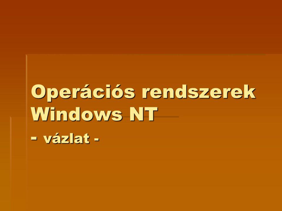 Objektumok  NT valamennyi erőforrása objektumként jelenik meg az op.rsz.-ben (pl.