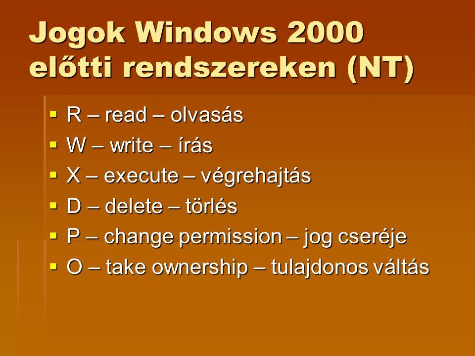 Jogok Windows 2000 előtti rendszereken (NT)  R – read – olvasás  W – write – írás  X – execute – végrehajtás  D – delete – törlés  P – change per