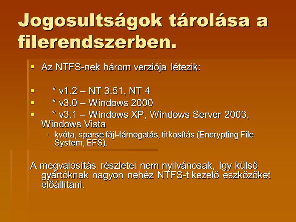 Jogosultságok tárolása a filerendszerben.  Az NTFS-nek három verziója létezik:  * v1.2 – NT 3.51, NT 4  * v3.0 – Windows 2000  * v3.1 – Windows XP