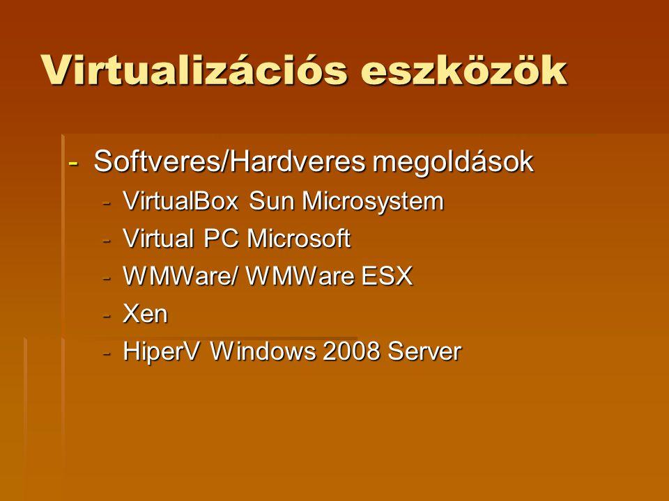 Virtualizációs eszközök -Softveres/Hardveres megoldások -VirtualBox Sun Microsystem -Virtual PC Microsoft -WMWare/ WMWare ESX -Xen -HiperV Windows 200