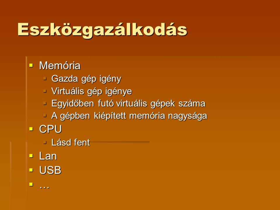 Eszközgazálkodás  Memória  Gazda gép igény  Virtuális gép igénye  Egyidőben futó virtuális gépek száma  A gépben kiépített memória nagysága  CPU