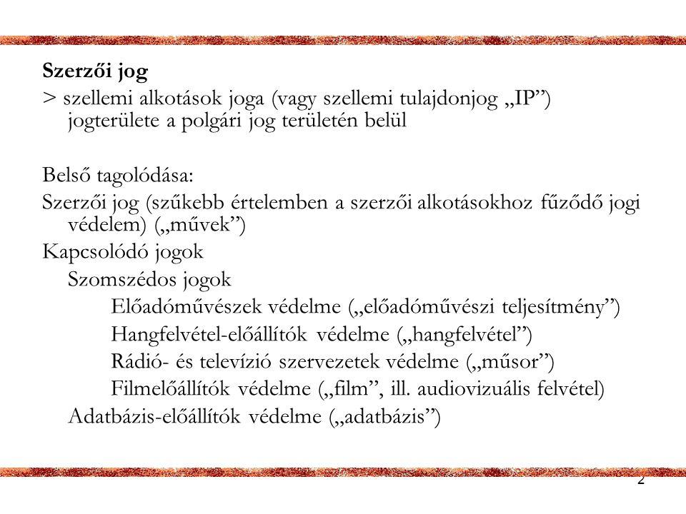 3 Jogszabályok -1999.évi LXXVI. törvény a szerzői jogról -európai irányelvek (ún.