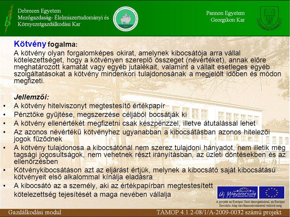 Kötvényt kibocsáthat: - az állam (beleértve a külföldi államot is) - a Magyar Nemzeti Bank - az önkormányzat - jogi személyiséggel rendelkező gazdálkodó szervezet - nemzetközi szervezet (és minden olyan külföldi szervezet, amely saját joga alapján kötvény kibocsátására jogosult) - jogi személyiséggel rendelkező külföldi gazdálkodó szervezet fióktelepe