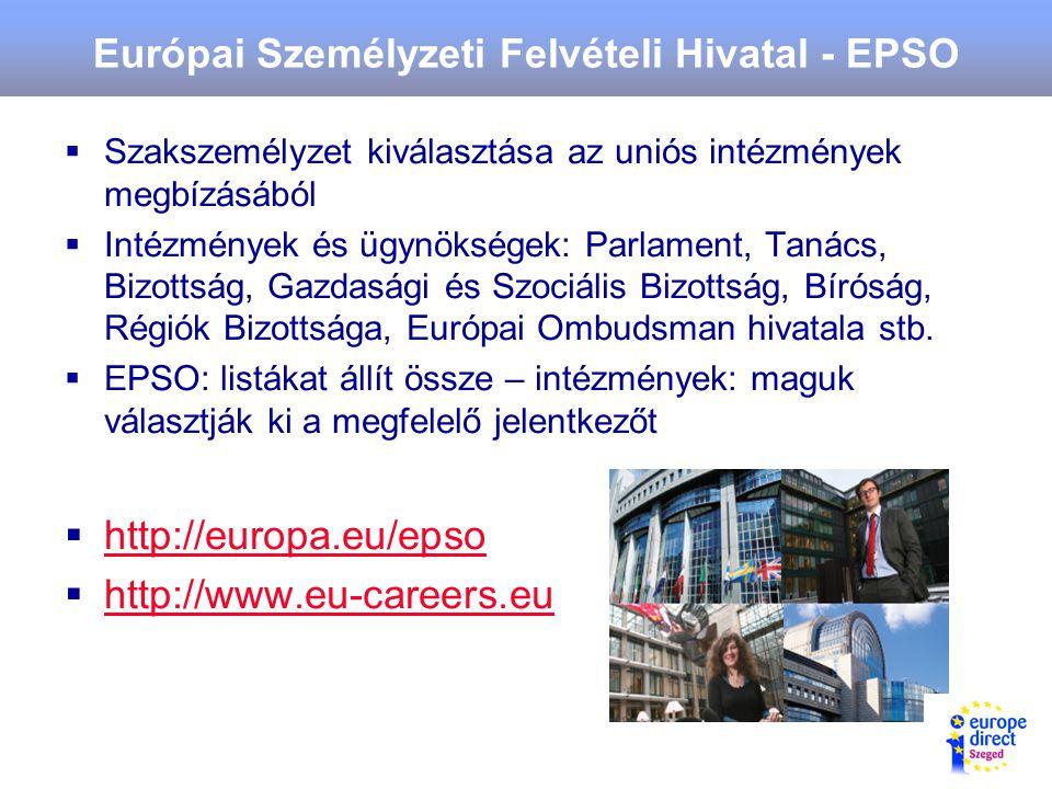 Európai Személyzeti Felvételi Hivatal - EPSO  Szakszemélyzet kiválasztása az uniós intézmények megbízásából  Intézmények és ügynökségek: Parlament, Tanács, Bizottság, Gazdasági és Szociális Bizottság, Bíróság, Régiók Bizottsága, Európai Ombudsman hivatala stb.
