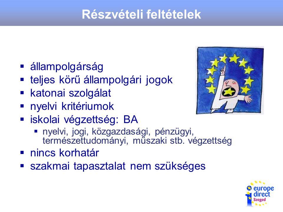 Részvételi feltételek  állampolgárság  teljes körű állampolgári jogok  katonai szolgálat  nyelvi kritériumok  iskolai végzettség: BA  nyelvi, jogi, közgazdasági, pénzügyi, természettudományi, műszaki stb.