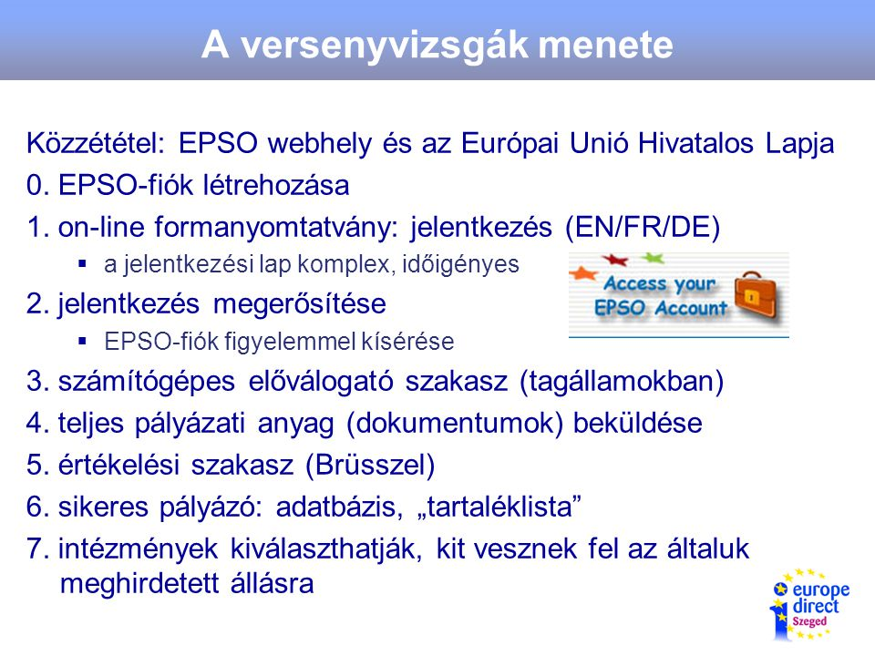 A versenyvizsgák menete Közzététel: EPSO webhely és az Európai Unió Hivatalos Lapja 0.