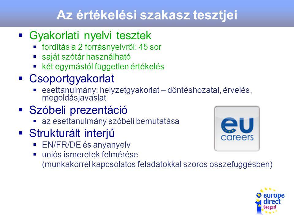 Az értékelési szakasz tesztjei  Gyakorlati nyelvi tesztek  fordítás a 2 forrásnyelvről: 45 sor  saját szótár használható  két egymástól független értékelés  Csoportgyakorlat  esettanulmány: helyzetgyakorlat – döntéshozatal, érvelés, megoldásjavaslat  Szóbeli prezentáció  az esettanulmány szóbeli bemutatása  Strukturált interjú  EN/FR/DE és anyanyelv  uniós ismeretek felmérése (munkakörrel kapcsolatos feladatokkal szoros összefüggésben)