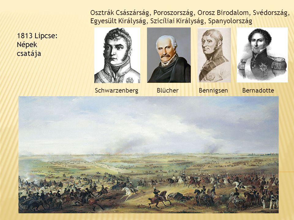 1813 Lipcse: Népek csatája Osztrák Császárság, Poroszország, Orosz Birodalom, Svédország, Egyesült Királyság, Szicíliai Királyság, Spanyolország Schwa
