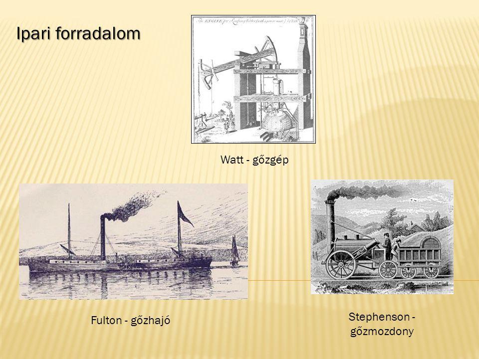 Ipari forradalom Watt - gőzgép Fulton - gőzhajó Stephenson - gőzmozdony