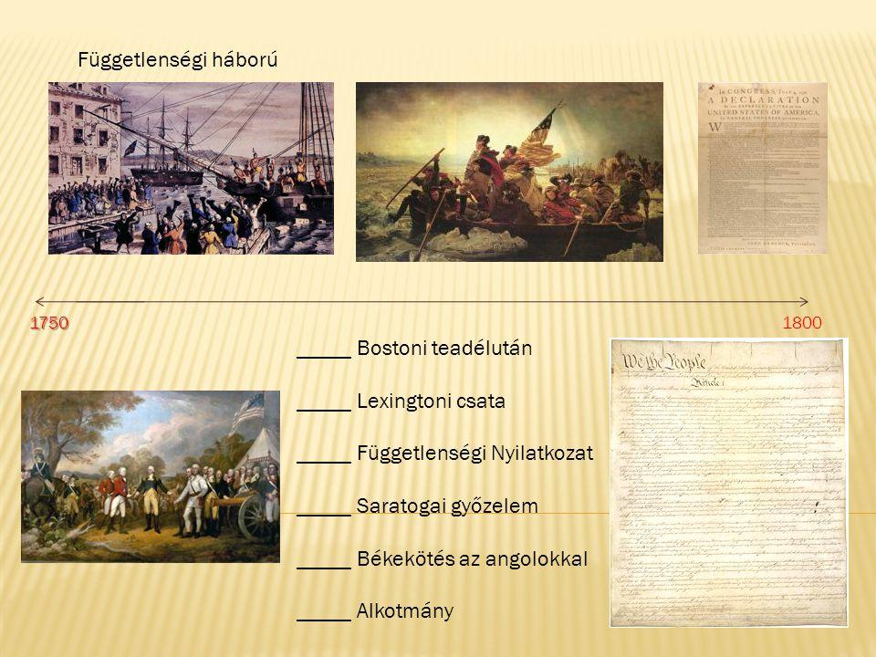 Függetlenségi háború _____ Bostoni teadélután _____ Lexingtoni csata _____ Függetlenségi Nyilatkozat _____ Saratogai győzelem _____ Békekötés az angol