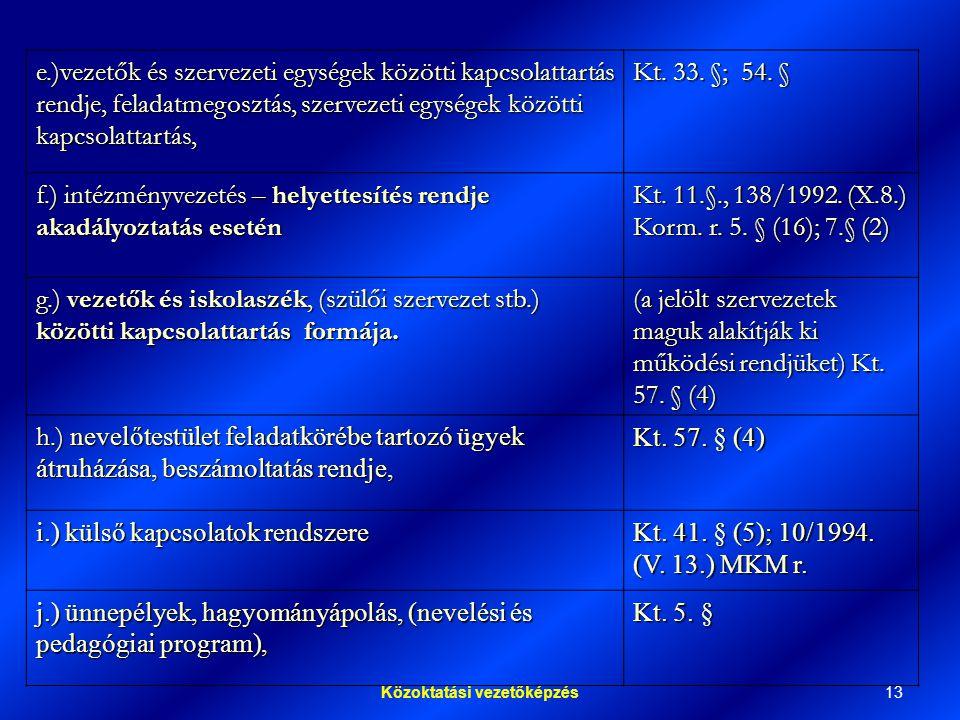 13Közoktatási vezetőképzés e.)vezetők és szervezeti egységek közötti kapcsolattartás rendje, feladatmegosztás, szervezeti egységek közötti kapcsolattartás, Kt.