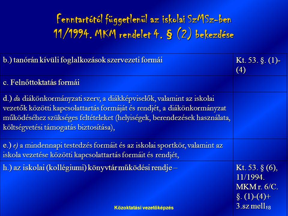 18Közoktatási vezetőképzés Fenntartótól függetlenül az iskolai SzMSz-ben 11/1994.