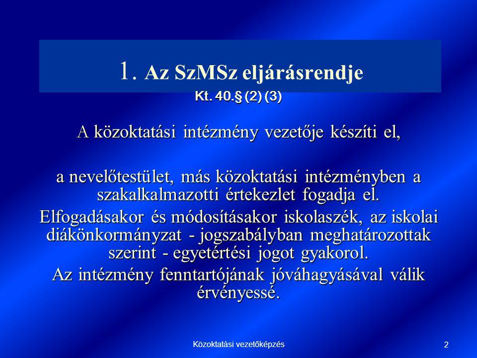 Közoktatási vezetőképzés 2 1.Az SzMSz eljárásrendje Kt.