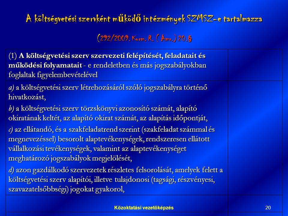 20Közoktatási vezetőképzés A költségvetési szervként m ű köd ő intézmények SZMSZ-e tartalmazza (292/2009.
