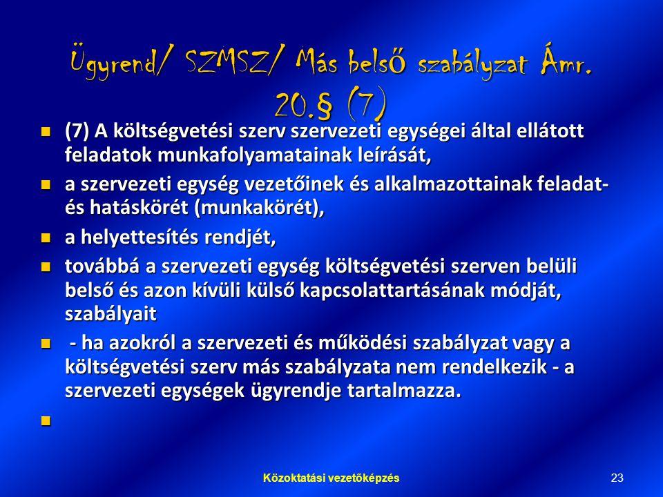 23Közoktatási vezetőképzés Ügyrend/ SZMSZ/ Más bels ő szabályzat Ámr.