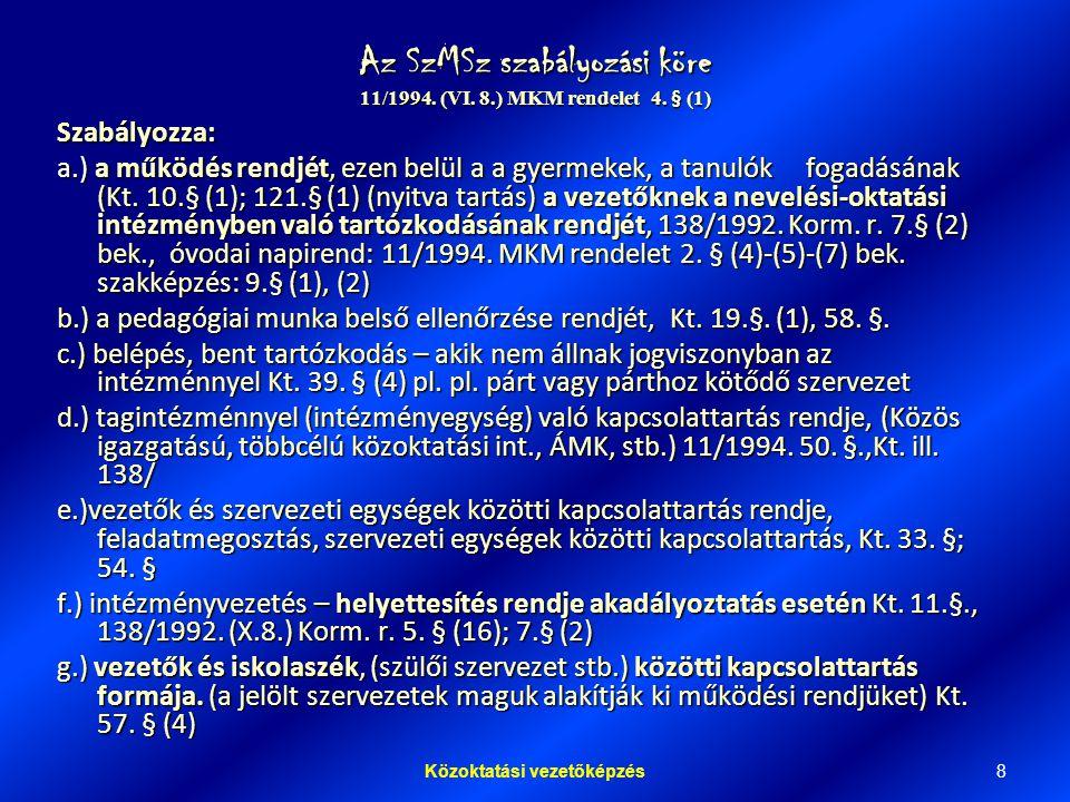 8Közoktatási vezetőképzés Az SzMSz szabályozási köre 11/1994.