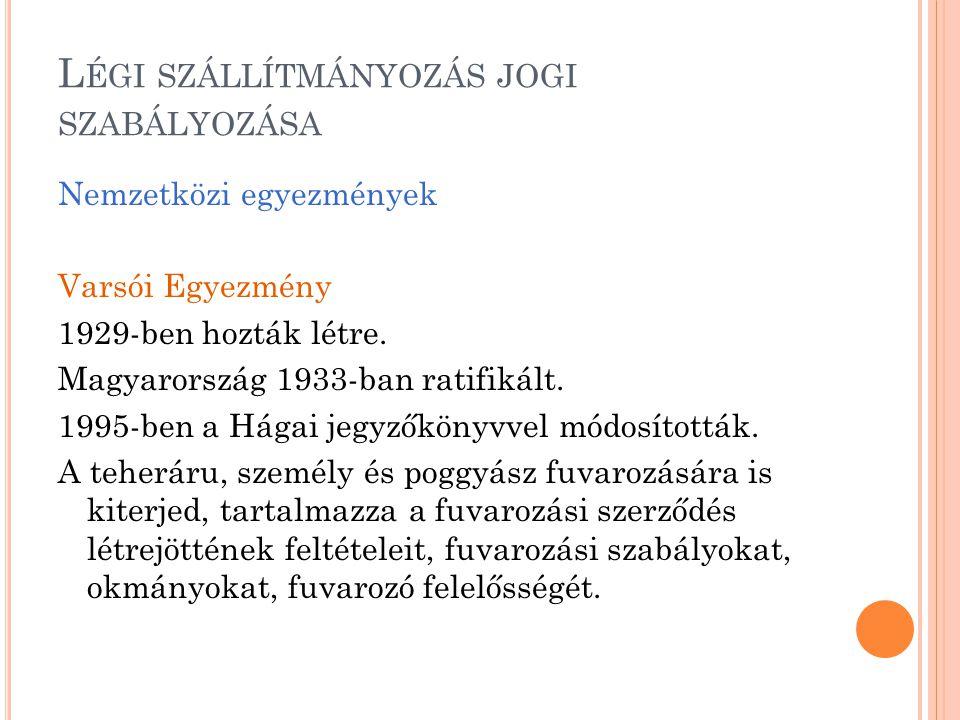 L ÉGI SZÁLLÍTMÁNYOZÁS JOGI SZABÁLYOZÁSA Nemzetközi egyezmények Varsói Egyezmény 1929-ben hozták létre. Magyarország 1933-ban ratifikált. 1995-ben a Há
